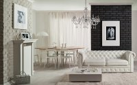 Salon w stylu glamour, cegła ciosana, biała